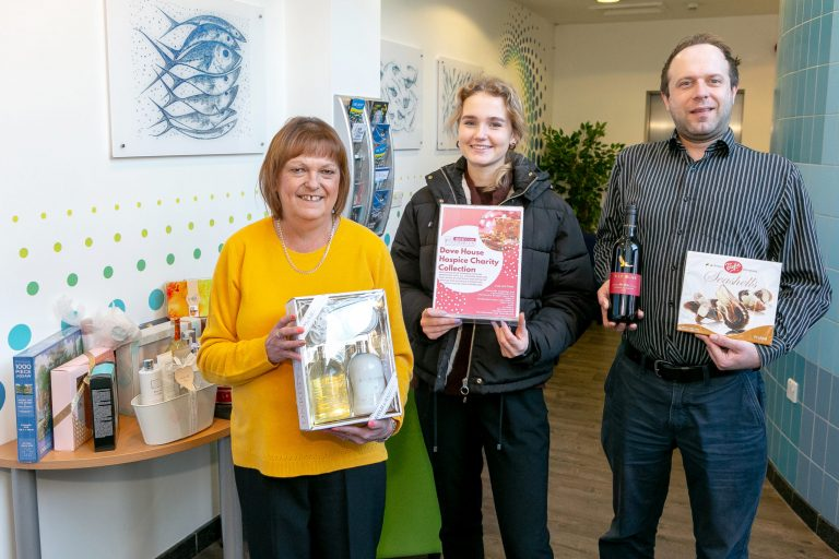 Deep Business Centre collecting Christmas gifts for Dove House Hospice