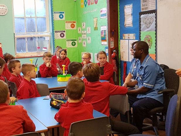 Castle Hill nurse Justin shares experience of refugee camp with school children