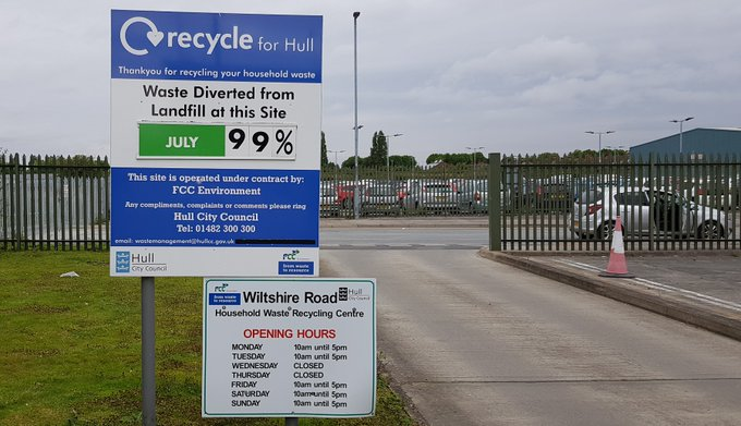 Hull's three household waste and recycling centres will reopen next week