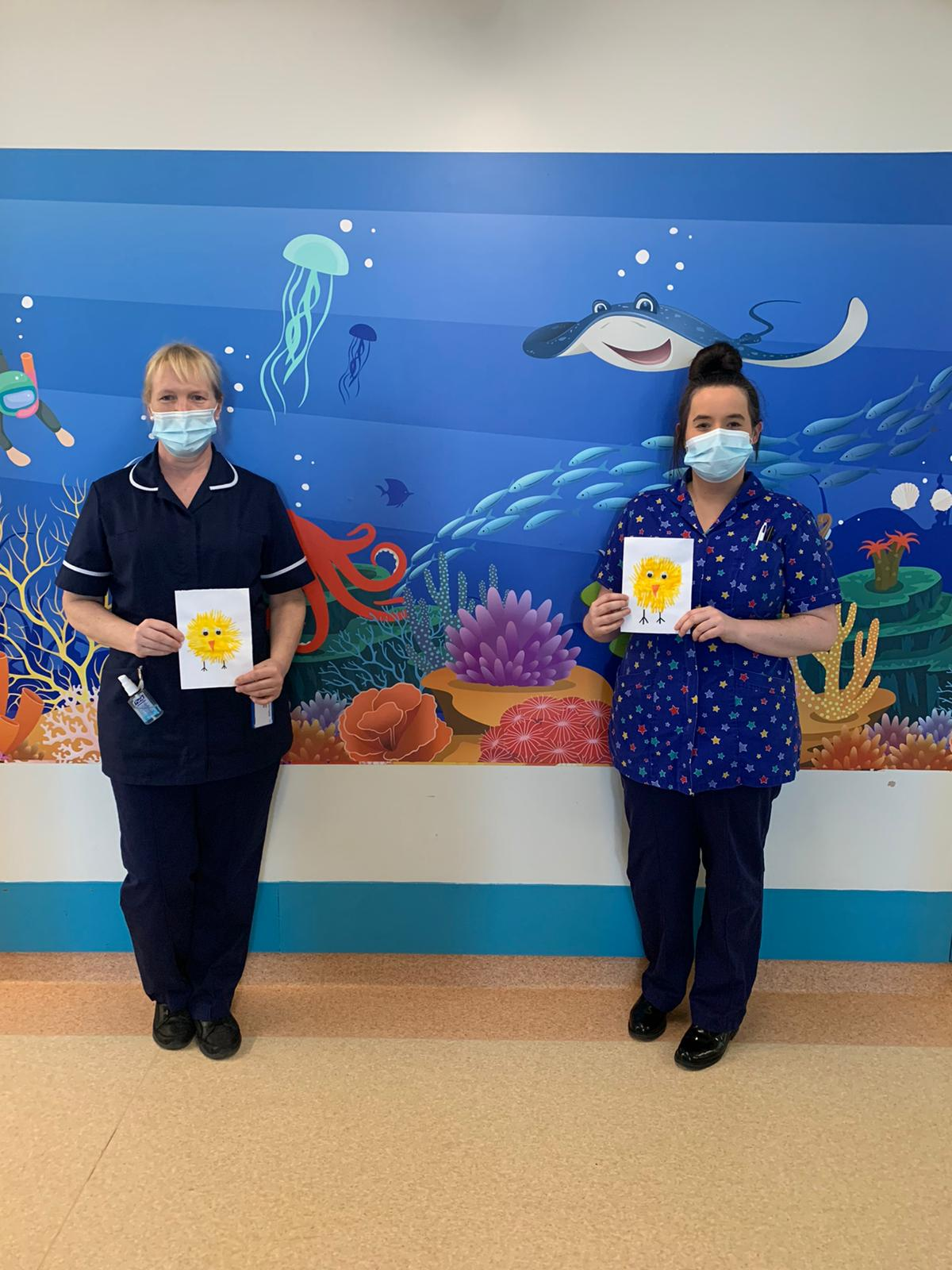 Children's nurses egg-stend their support for WISHH Charity's Easter Appeal